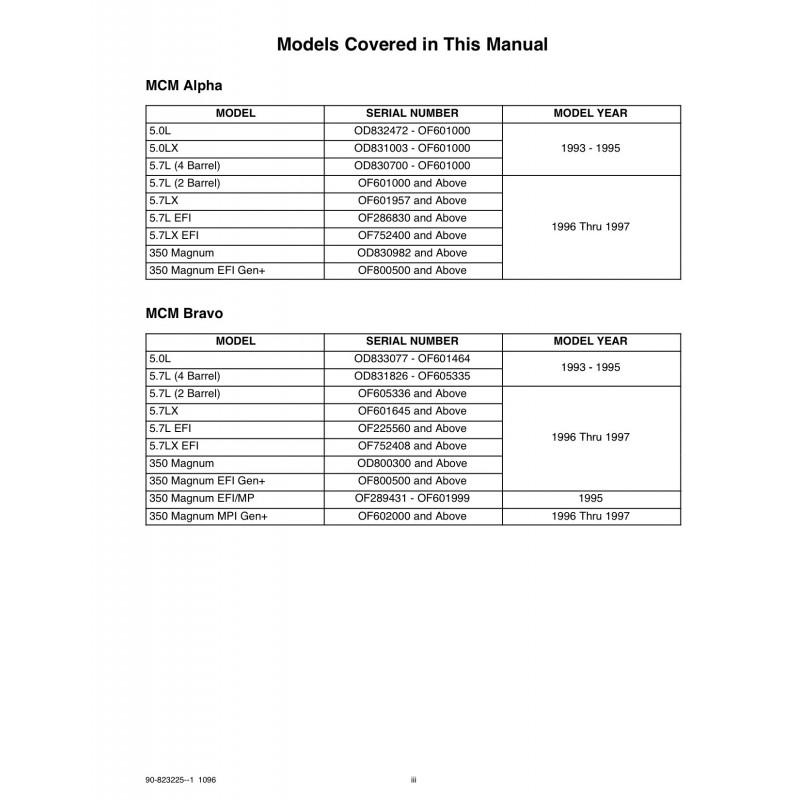 manuel mercruiser essence 5 0l 5 7l  efi